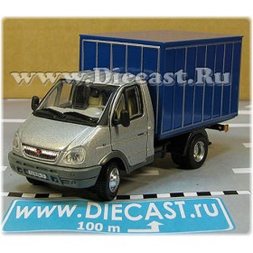Gaz 3302 Gazelle Russian Commercial Delivery Hardtop Box Truck SilverBlue 1:50 D50H1840