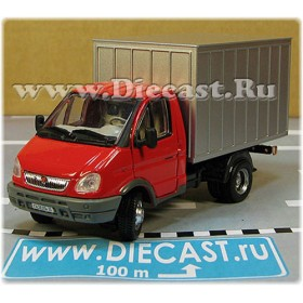 Gaz 3302 Gazelle Russian Commercial Delivery Hardtop Box Truck RedSilver 1:50 D50H1842