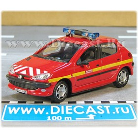 Peugeot 206 French Fire Chief Car Sapeurs Pompiers 1:43 D43H1639