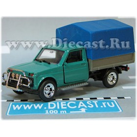 Lada Vaz 2121 21213 Niva 4x4 Fvk Pickup Vis 2302 Pickup Green Dark Blue Canvas 1:43 D43R2140