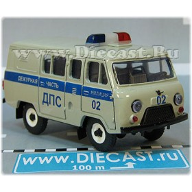 Uaz 39099 (no Rear Windows) Russian Police Patrol Dps Grey w Painted Stripe 4x4 Awd 1:43 D43R1921