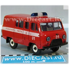 Uaz 39099 (no Rear Windows) Russian Fire Rescue 01 Painted Not Stickers 4x4 Awd Minibus 1:43 D43R1922