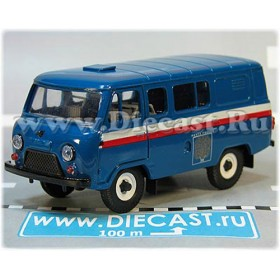 Uaz 39099 (no Rear Windows) Russian Post Mail Delivery Service Blue 4x4 Awd Minibus 1:43 D43R1988
