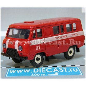 Uaz 3962 Russian Fire Dept Rescue 01 Painted Not Stickers 4x4 Awd Minibus 1:43 D43R1916