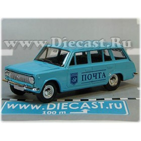 Lada Vaz 2102 1200 Station Wagon Soviet Post Mail Delivery Sky Blue 1:43 D43R0196